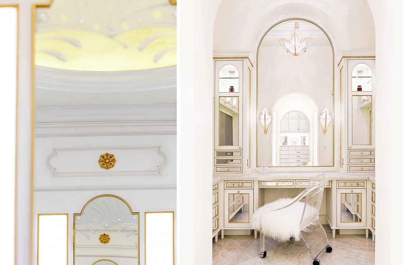 white and gold neoclassical master bath   tara dudley